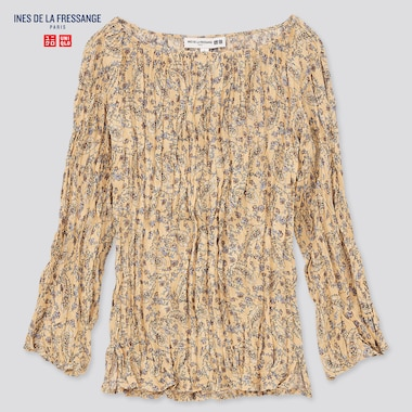 WOMEN Ines Twist Pleated Printed 3/4 Sleeved Blouse