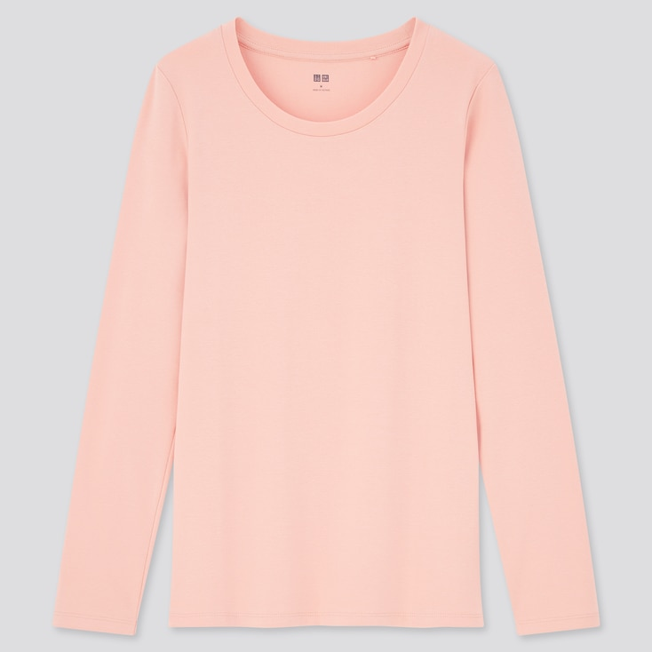 Women Stretch Cotton Crew Neck Long-Sleeve T-Shirt, Pink, Large