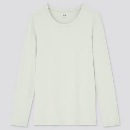 T-shirt en Coton Stretch Manches Longues Femme