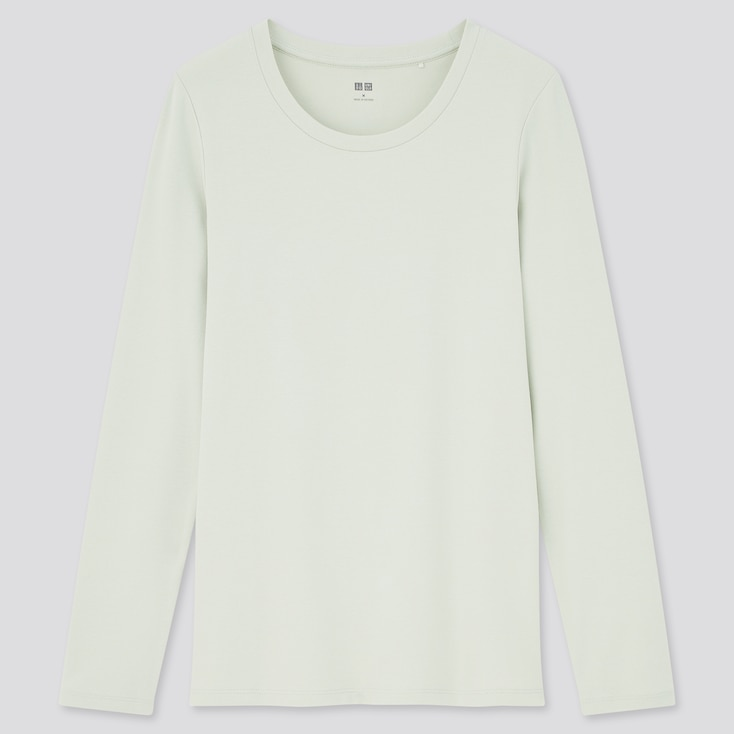 Women Stretch Cotton Crew Neck Long-Sleeve T-Shirt, Light Green, Large