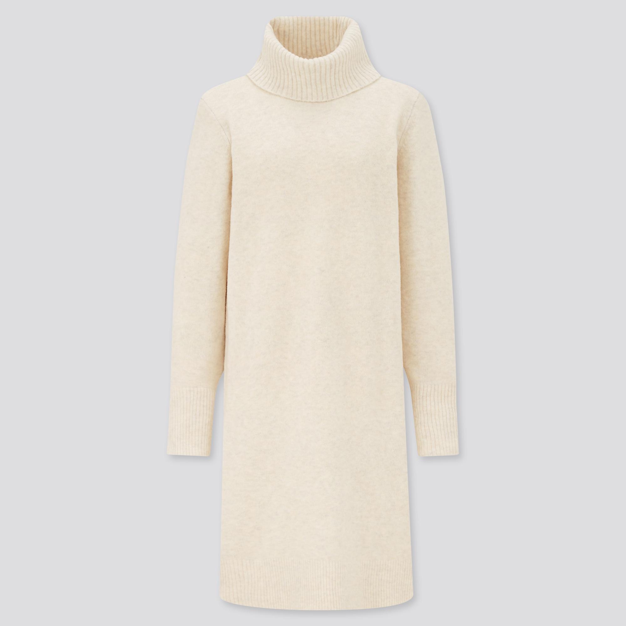 women souffle yarn turtleneck long-sleeve dress