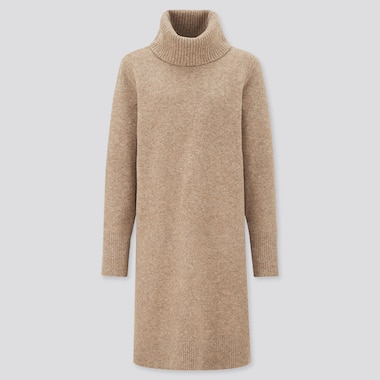 Women Soft Soufflé Knit Turtleneck Long Sleeved Dress