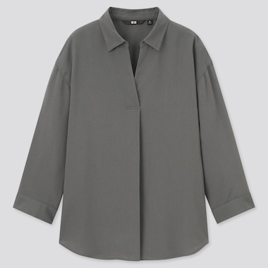 Women Rayon Skipper Collar 3/4-Sleeve Blouse, Olive, Medium