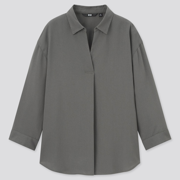 Women Rayon Skipper Collar 3/4-Sleeve Blouse, Olive, Large