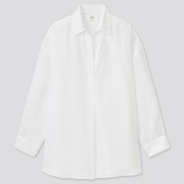 Women 100% Premium Linen Skipper Collar 3/4 Sleeved Shirt