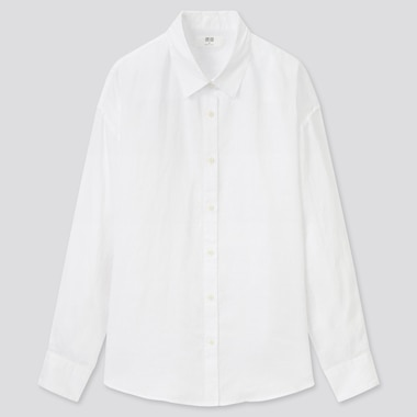 Women Premium Linen Long-Sleeve Shirt, White, Medium