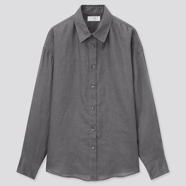 Damen 100% Premium Leinen Bluse