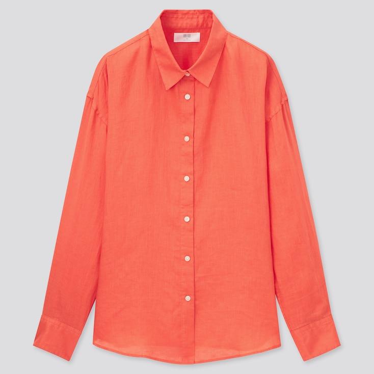 Women Premium Linen Long-Sleeve Shirt, Orange, Large