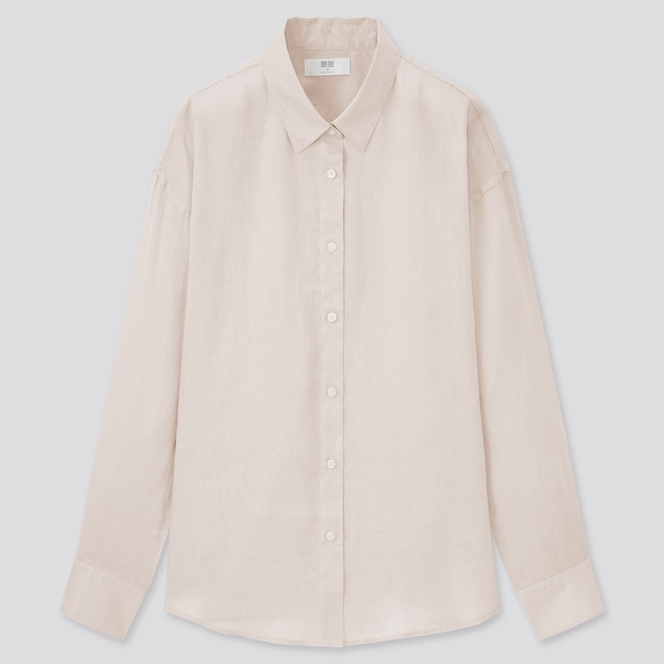 Women Premium Linen Long-Sleeve Shirt, Natural, Large