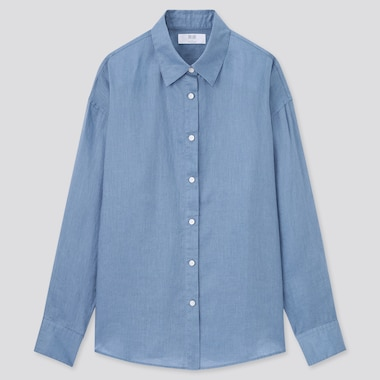 Women Premium Linen Long-Sleeve Shirt, Blue, Medium