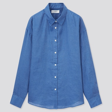Women 100% Premium Linen Long Sleeved Shirt