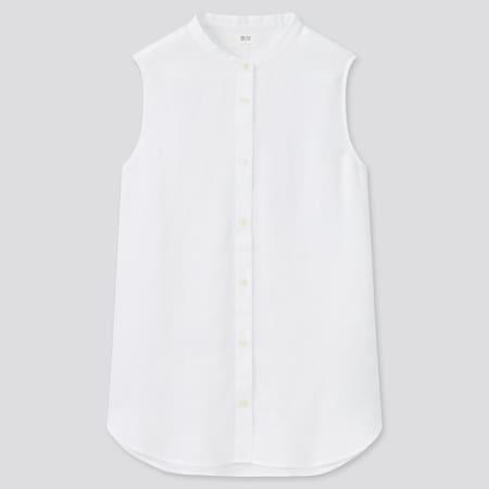 Women 100% Premium Linen Sleeveless Shirt
