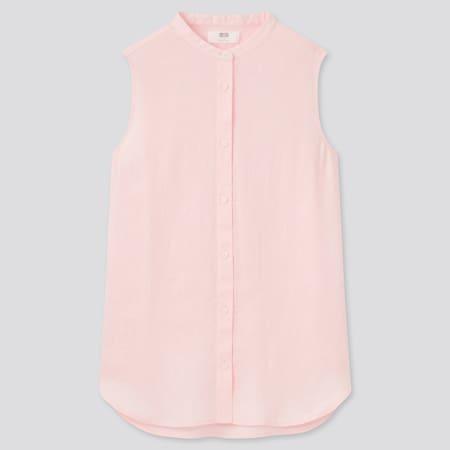 Camisa 100% Lino Prémium Cuello Mao Sin Mangas Mujer