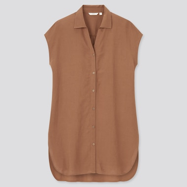Women Linen Blend Short Sleeved Long Shirt