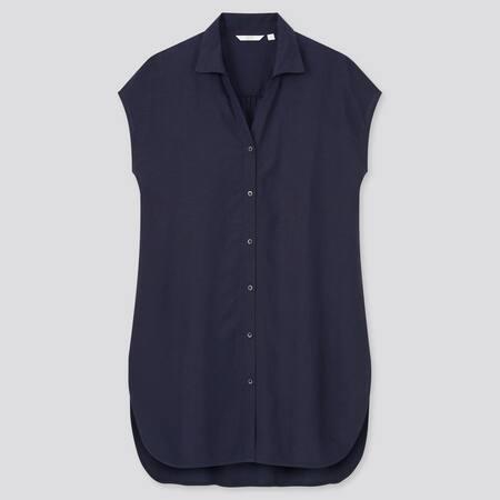 Women Linen Blend Short Sleeved Long Shirt