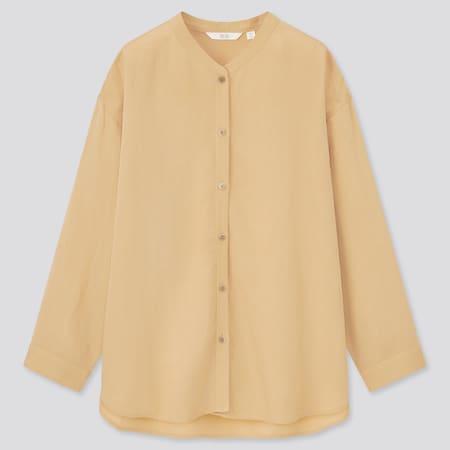 Women Linen Blend Band Collar 3/4 Sleeved Shirt