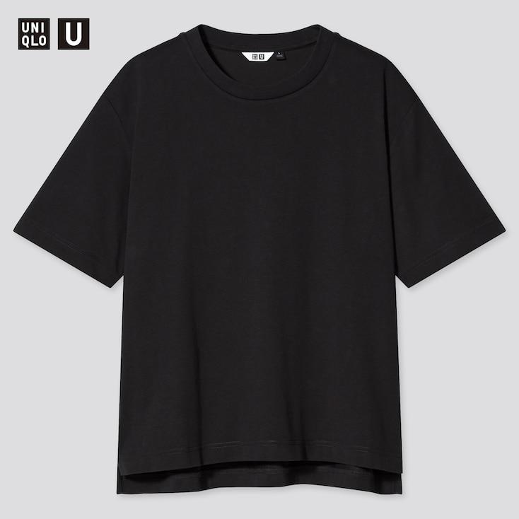 Women U Airism Cotton Oversized Crew Neck T-Shirt, Black, Large