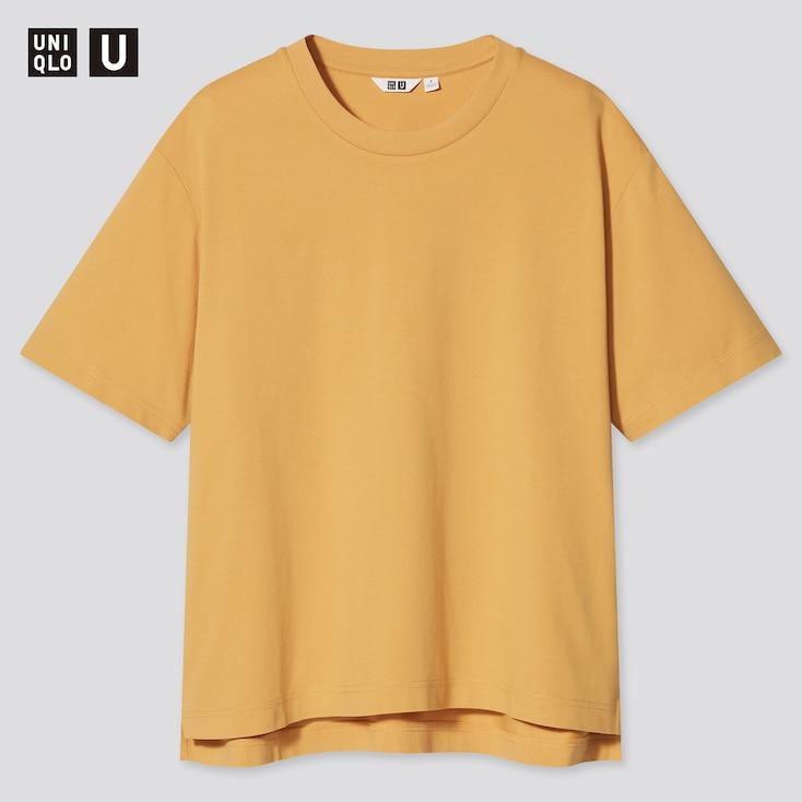 Women U Airism Cotton Oversized Crew Neck T-Shirt, Orange, Large