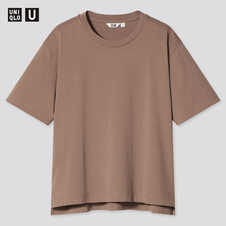 Women U Airism Cotton Oversized Crew Neck T-Shirt, Brown, Large