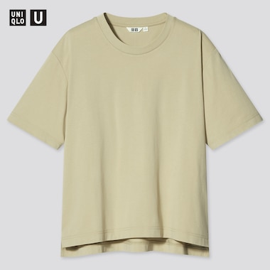 Women U Airism Cotton Oversized Crew Neck T-Shirt, Green, Medium