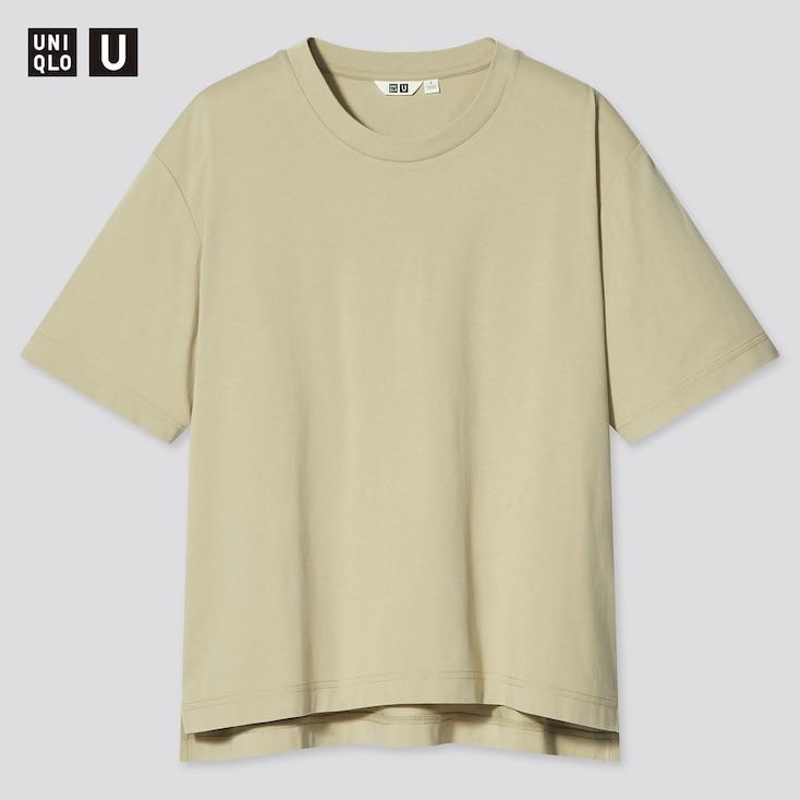Women U Airism Cotton Oversized Crew Neck T-Shirt, Green, Large