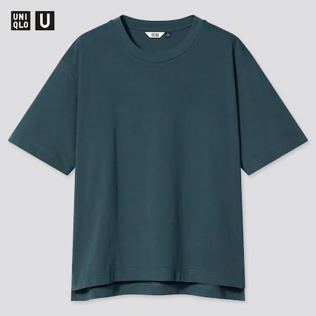 Women Uniqlo U AIRism Cotton Oversized Fit Crew Neck T-Shirt