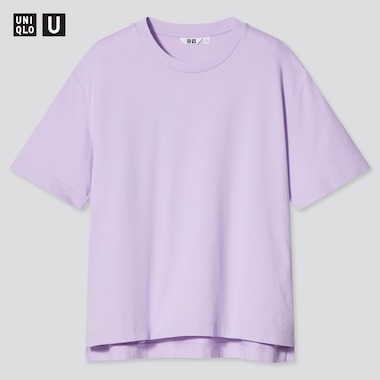 Women Uniqlo U AIRism Cotton Oversized Fit Crew Neck T-Shirt