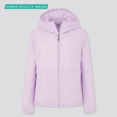 Women Pocketable Uv Protection Parka, Purple, Medium