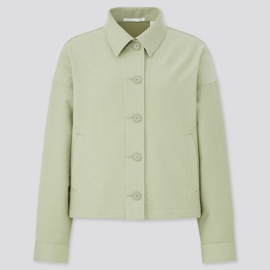 Women Jersey Relaxed Jacket, Green, Medium