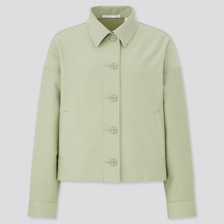 Women Jersey Relaxed Jacket, Green, Large