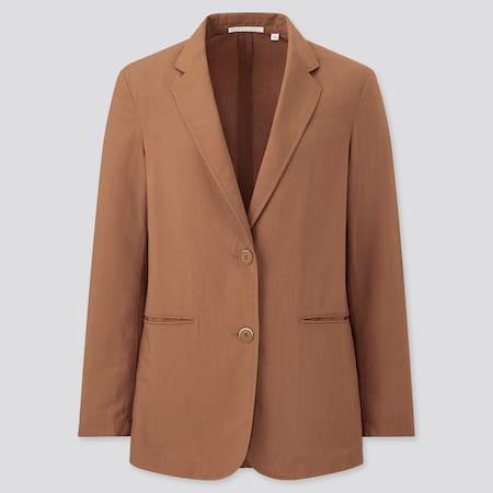 Women Linen Blend Relaxed Fit Jacket