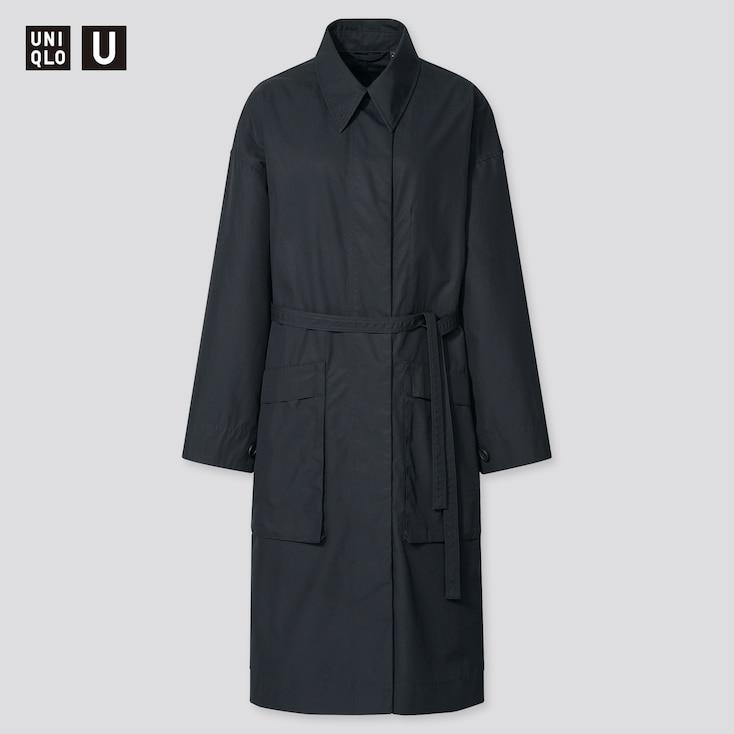 Women U Cotton Long Coat, Black, Large