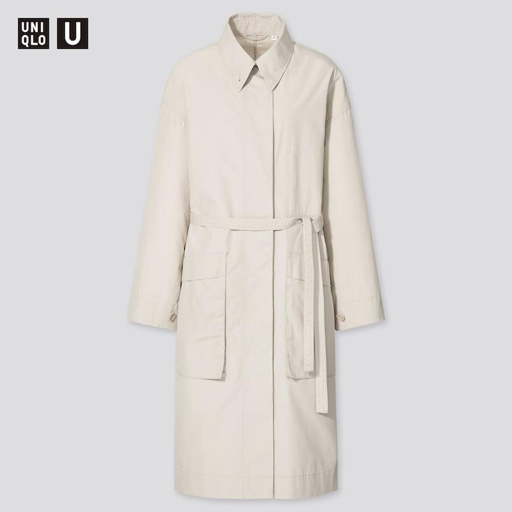 Women U Cotton Long Coat, Natural, Large