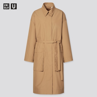 Women U Cotton Long Coat, Khaki, Medium