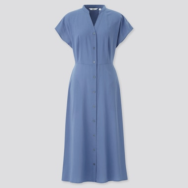 Women Rayon Lawn Short-Sleeve Flare Dress, Blue, Medium