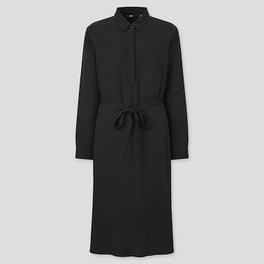 Women Rayon Long-Sleeve Shirt Dress, Black, Medium