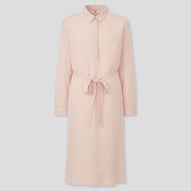 Women Rayon Long-Sleeve Shirt Dress, Pink, Medium