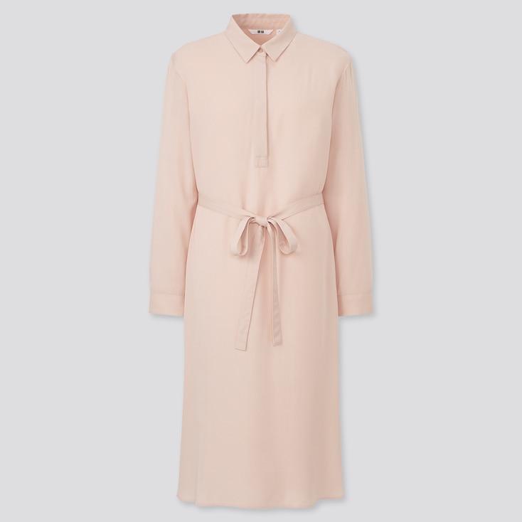 Women Rayon Long-Sleeve Shirt Dress, Pink, Large