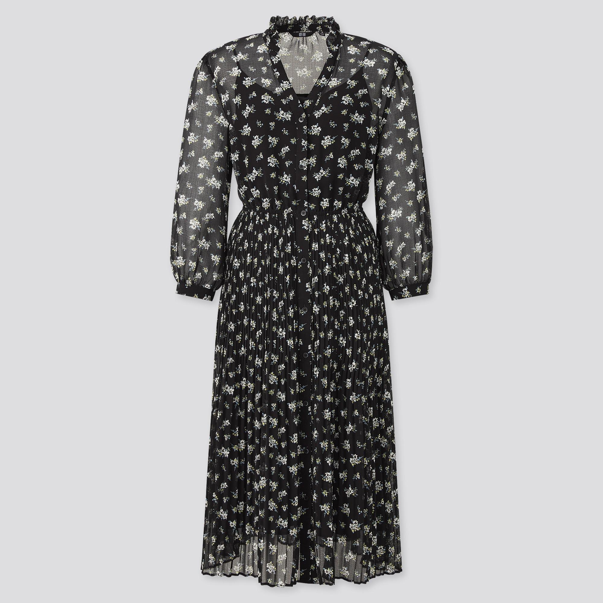 women chiffon pleated 3/4-sleeve dress