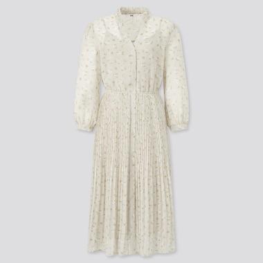WOMEN Joy of Print Chiffon Pleated 3/4 Sleeved Dress