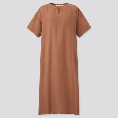 Women Linen-Blend Short-Sleeve Kaftan Dress, Brown, Medium