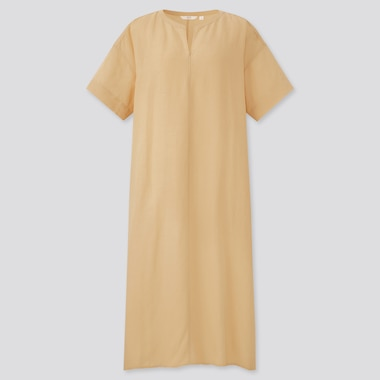 Women Linen-Blend Short-Sleeve Kaftan Dress, Yellow, Medium