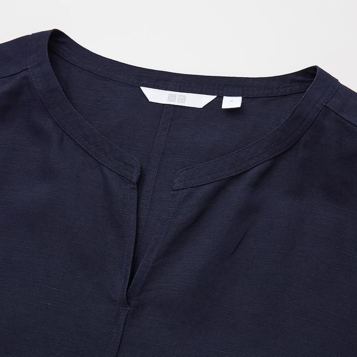 Women Linen-Blend Short-Sleeve Kaftan Dress, Brown, Large
