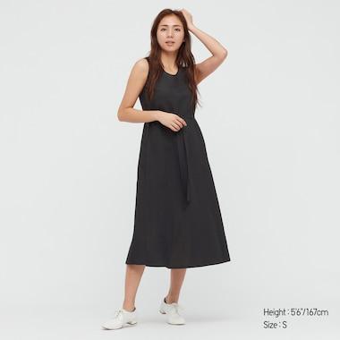 Damen Langes ärmelloses Leinenmix Kleid in A-Linie