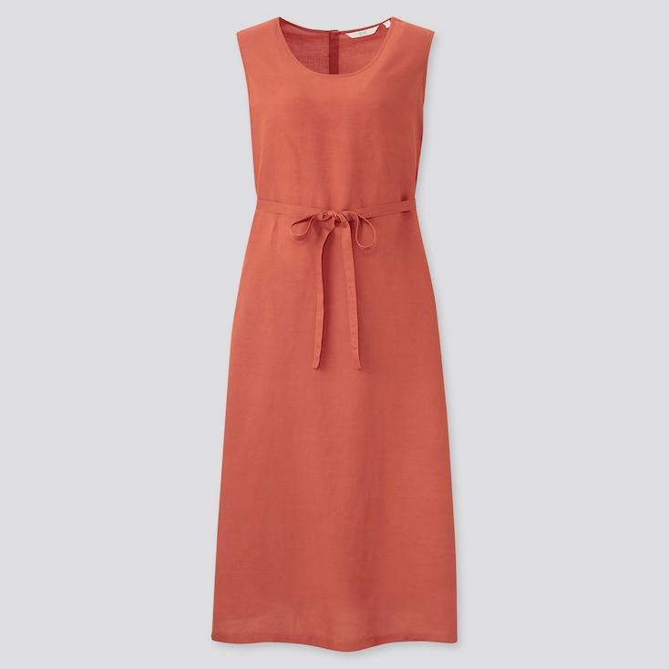 Women Linen-Blend Sleeveless A-Line Long Dress, Orange, Large