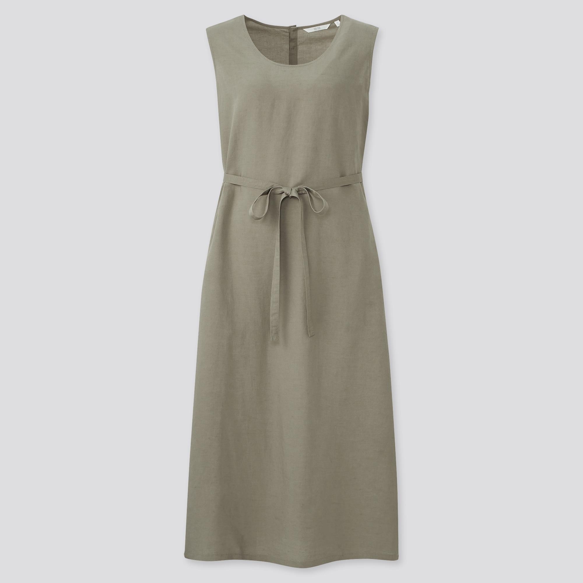 WOMEN LINEN-BLEND SLEEVELESS A-LINE LONG DRESS