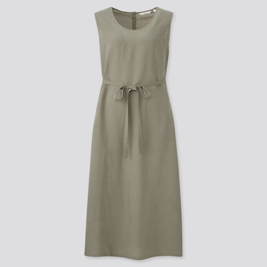 Women Linen-Blend Sleeveless A-Line Long Dress, Olive, Medium