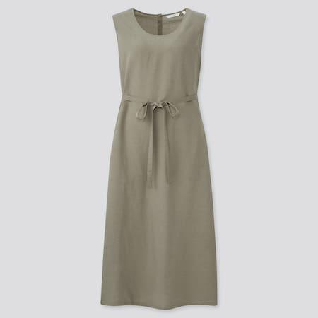 Women Linen Blend A-Line Sleeveless Longline Dress