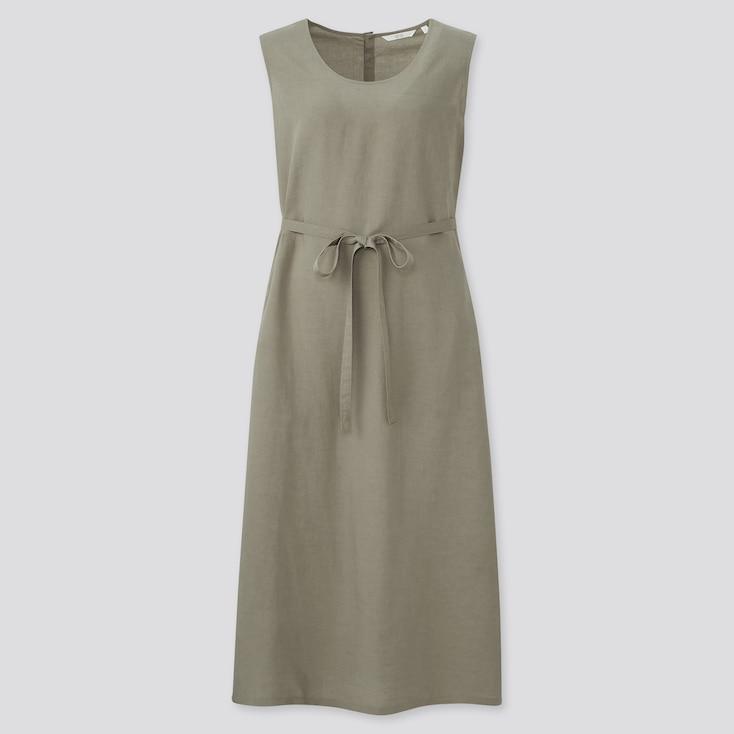 Women Linen-Blend Sleeveless A-Line Long Dress, Olive, Large