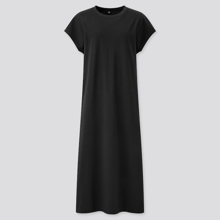 Women Smooth Cotton French Sleeve Long Dress, Black, Large